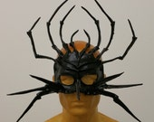 Black Spider Scary Leather Costume Mask 10.0