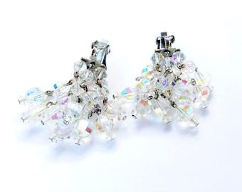 Austrian Crystal Dangle Cha Cha Earrings AB Sparkling Vintage Bridal Fashion Jewelry