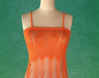 Fringe Crop Top / Lace Tank / Crochet / Orange / Beachwear / Summer Top / Festival Clothing / Spaghetti Strap / Midriff Top - Small/Medium