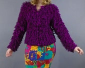 Vintage Shaggy Yarn Sweater by A'MILANO Fuchsia and Black