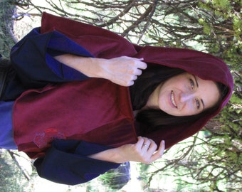 Hooded Capelet: Thor's Hammer Embroidery, Cranberry Velour, Viking Capelet, Pagan Capelet, Heathen Capelet, Hooded Capelet, SCA LARP