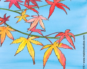 217. sympathy card of maple leaves - choose any 6 designs