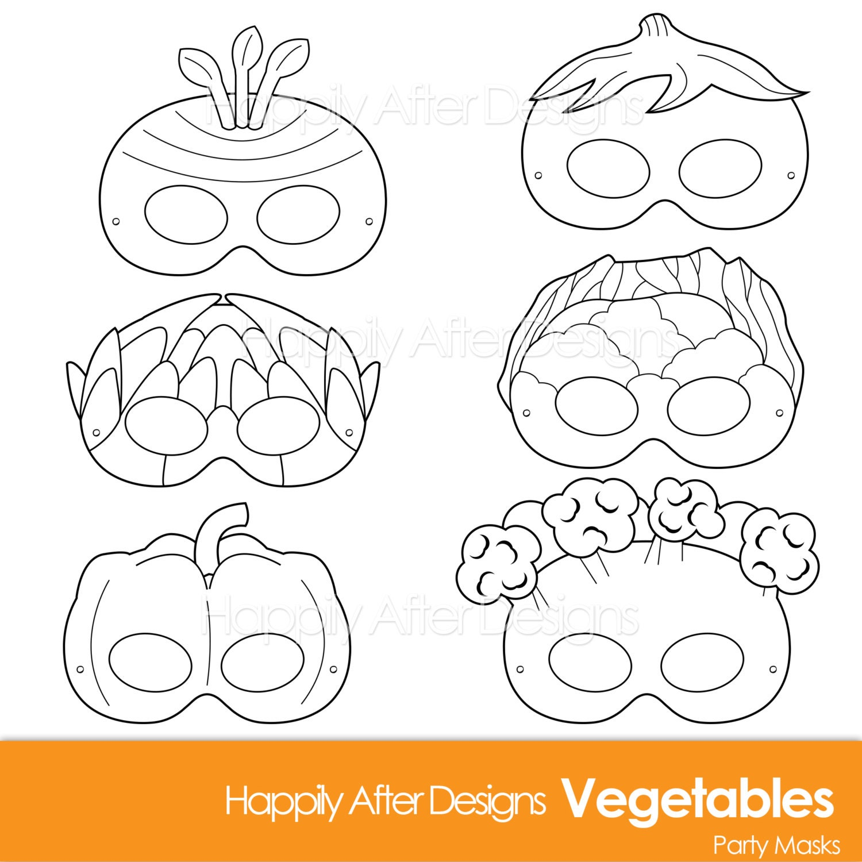 vegetable printable coloring masks carrot mask broccoli