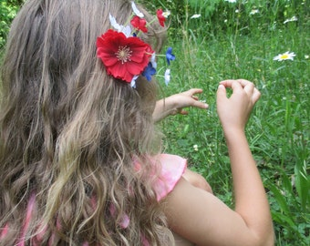 4th of July hair flower clip, Independence day flower, red flower clip, red white and blue