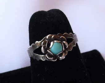 Old Pawn Turquoise Ring, Size 6.5, Vintage Sterling Silver Native American Jewelry
