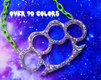 Life-size Holographic or Neon Glitter Brass Knuckle Duster Necklace, Riot Grrrl, Harajuku, Grunge, Goth