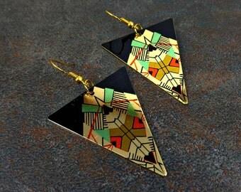 Statement Earrings, Geometric Earrings, Black and Gold, Statement, Big Earrings, Red, Metal Earrings, Triangular Drop Earrings