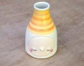 Happy sunshine yellow and orange striped bud vase