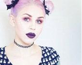 Black sparkly bat glitter hair clips medium duo Kawaii pin up Halloween