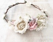 Beautiful woodland fairy ivory, white and pastel pink flowers bridal flower crown - wedding - bride - flower girl