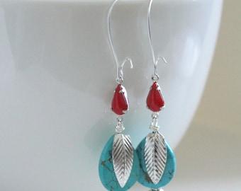 Turquoise Earrings, Feather Earrings, Southwestern Jewelry, Red Aqua Earrings, Spring Earrings, Western Jewelry, Turquoise Silver, Cowgirl