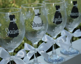 1 Bride and Bridesmaids Wine Glasses for a Winter Wedding, Featuring Snowflakes