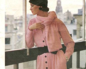 1980s Yves Saint Laurent dress & scarf pattern -- Vogue Paris Original 1342