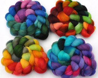 Hand Dyed Roving Color Sampler 4-Pack - Shetland wool spinning fiber - 8 ounces