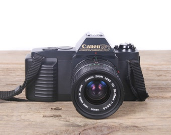 Vintage Canon T50 Camera Set / Canon Camera w/ Camera Bag / Camera Flash / Manuals / Old SLR camera / Student Camera / Old Film Camera