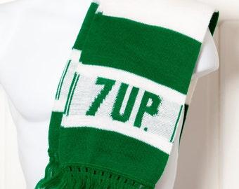 Awesome Vintage 7UP Scarf - green white fringe