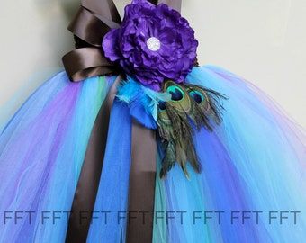 Peacock Feather Flower Girl Tutu Dress - customizable