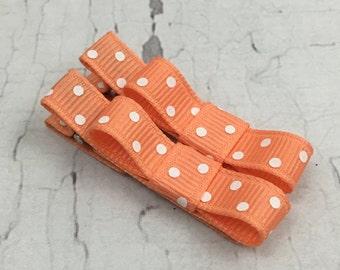 Baby Hair Clips - Apricot and White Polka Dot- Tuxedo Alligator or Snap Hair Clip Set - Baby, Girl, Toddler, Children