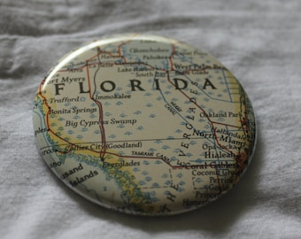 Lower Southern Florida Map Pinback Button 2.25""
