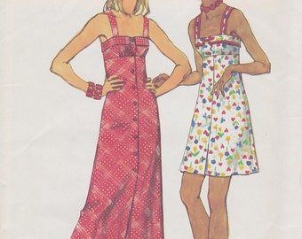 1973 Strappy Boho Mini or Maxi Sundress Vintage Pattern, Simplicity 5618, Cuffed, Empire Waist Bodice, Button Front, Sexy Flared Beach dress