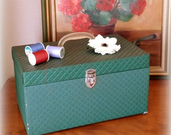 60s Quilted Sewing Box / Case - Forest Green Vinyl - Plastic Organizer - Pull-Out Drawer - Travel Case / Craft Storage - Mother's Day Gift