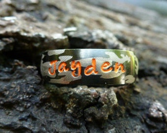 Camo Ring, Childs Camo Ring, Hunters ring, Child's Name Ring, Camouflage Ring, Boys Ring, Boys Name Ring, Stainless Steel 6 mm wide, Awesome