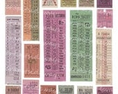 Vintage Bus Tickets Digital Collage Sheet Transportation Ticket Travel Digital Scrapbooking INSTANT DOWNLOAD Printable Images DC-011