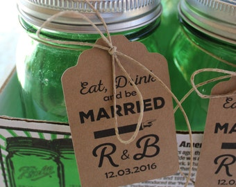 Eat Drink and be Married Tags - Personalized for your Wedding Favors - 100 tags on Kraft Brown Paper - Large Rectangle