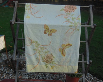 Vintage Yellow Pillowcase with Butterflies and flowers