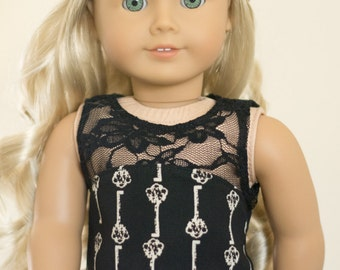 Chiffon and Lace Antique Keys Top ~ Fits 18 Inch Dolls ~ Doll Clothes