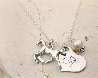 Girl's Horse Necklace.Girls Pearl and Heart Initial Heart Necklace.Teens Horse Charm Necklace.Gift for a Horse Lover.Girls Charm Necklace