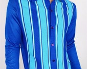 Vintage 1950's 60's Men's Gaucho ReTro ULtrA MOD BLuE StriPeD Knit Shirt AtOmiC ErA HiPsTeR