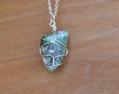 Variscite Necklace, Green Variscite Necklace, Crystal Jewelry, Crystal Necklace, Wire Wrapped Variscite, Crystal Healing, Reiki