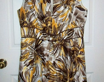 Vintage Ladies Yellow Brown & White Floral Print Dress by Ellen Tracy Size 12 Only 15 USD