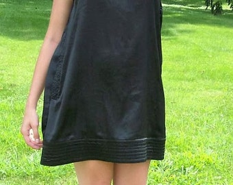 Vintage 90s Ladies Black Satin Mini Dress by Scarlett Small Only 14 USD