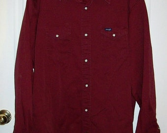 Vintage Men's Wine Heavy Cotton Canvas Snap Front Western Work Shirt by Wrangler XL Only 12 USD