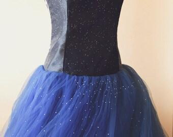 Upcycled Strapless Sweetheart Neckline Full Length Tulle Prom Dress | Dark Blue Night Sky Sparkle Prom Dress | Fairytale Princess Dress