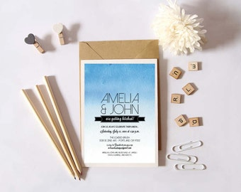 Instant Download - Watercolor Ombre - Shower Invitation, Custom Printable