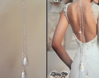Back drop add on, Double Pearl backdrop, Backdrop necklace, Brides backdrop, Wedding jewelry, Wedding back drop, For a bride ~ ANNIE