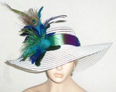 Wide Brim White Hat with Peacock Feathers, Extra wide brim, Kentucky Derby Hat, Garden Party Hat or Victorian Tea Party