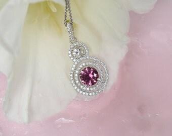 October Birthstone Pendant, Tourmaline Pendant, Pink Tourmaline, October Birthstone Jewelry,  Tourmaline Jewelry,  Pink Gemstone Pendant
