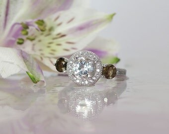 White Topaz Halo Ring, Sterling Silver White Topaz Ring, Chocolate Herkimer Diamond accents, Natural White Topaz