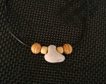 Holey Stone Necklace. Amulet Hag Stone Pendant Leather Necklace. Unisex Eco Beach Jewelry. Metaphysical Protection Talisman Stone,