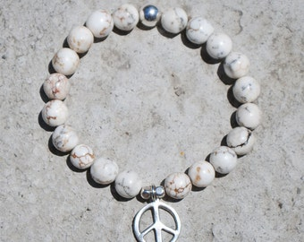 Silver Peace and Magnesite Bead Bracelet
