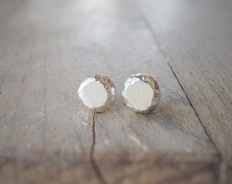 Recycled Silver Pebble Earrings