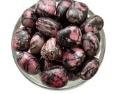 1 XL RHODONITE Tumbled Stone Pink & Black EQ Crystal Healing Crystal and Stone Healing Compassion Forgiveness #RS01