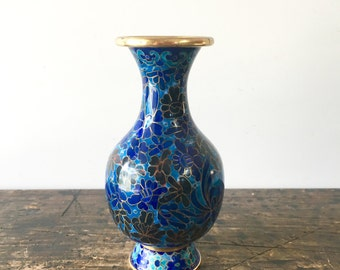 Vintage Cloisonne Vase with Gold Trim