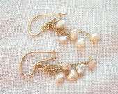 Vintage Earrings ~ Pearl & 14K Yellow Gold ~ Romantic Feminine Chic ~ Dangles ~ Wire with Chain and Pearl Drops