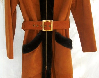Vintage Princess Coat with Hood ~ Leather ~ Pumpkin with Rich Black/Brown Trim ~ Belted ~ 1970's era ~ Lined