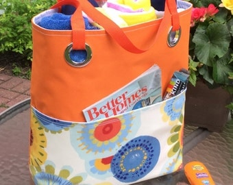 Extra Large Beach Tote Waterproof Monogram Tote Orange Tote Girlfriend Gift Summer Tote Commuter Bag Extra Large Tote